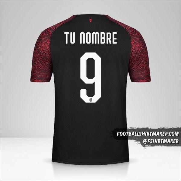 Jersey AC Milan 2018/19 III número 9 tu nombre