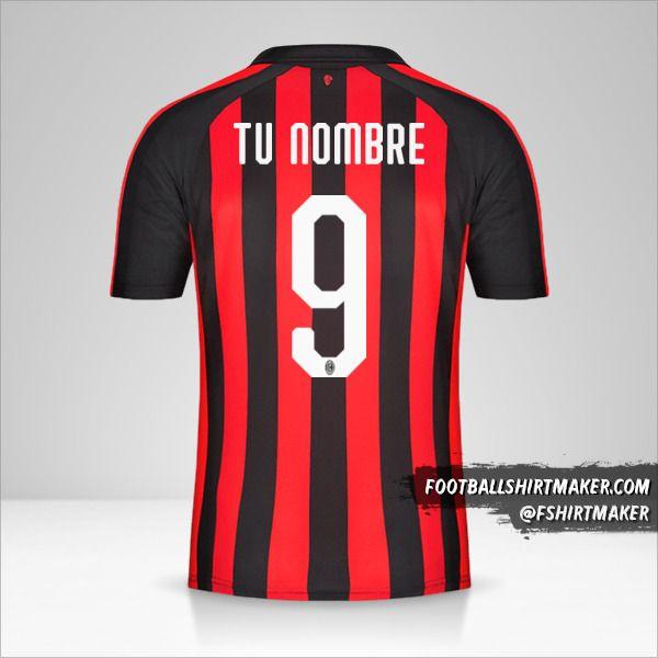Jersey AC Milan 2018/19 número 9 tu nombre