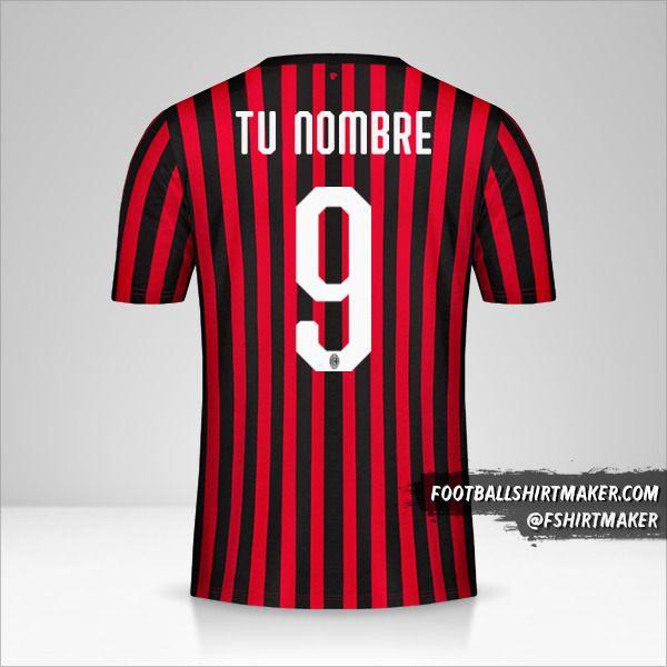 Jersey AC Milan 2019/20 número 9 tu nombre