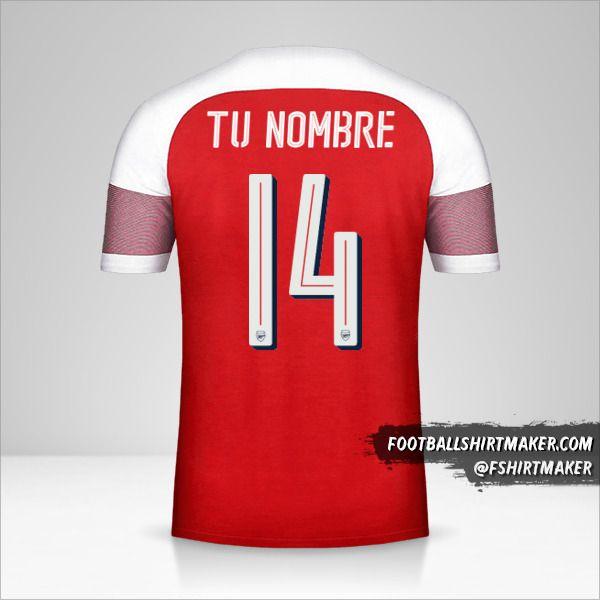 Jersey Arsenal 2018/19 Cup número 14 tu nombre