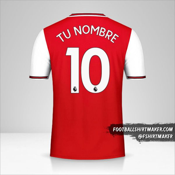 Jersey Arsenal 2019/20 número 10 tu nombre