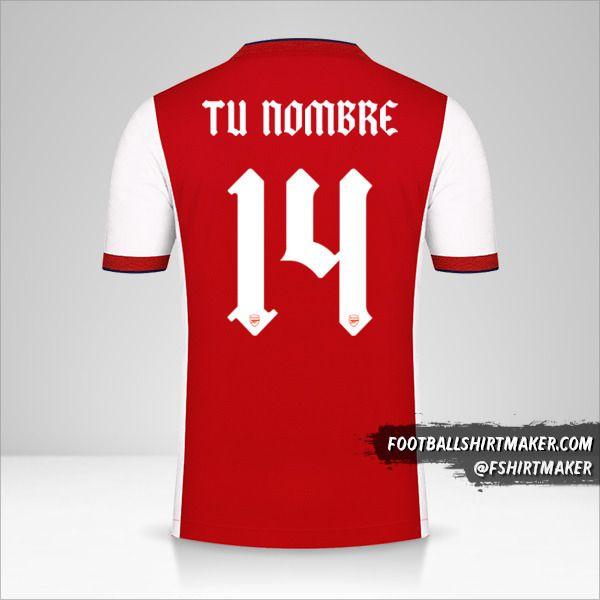 Jersey Arsenal 2021/2022 Cup número 14 tu nombre