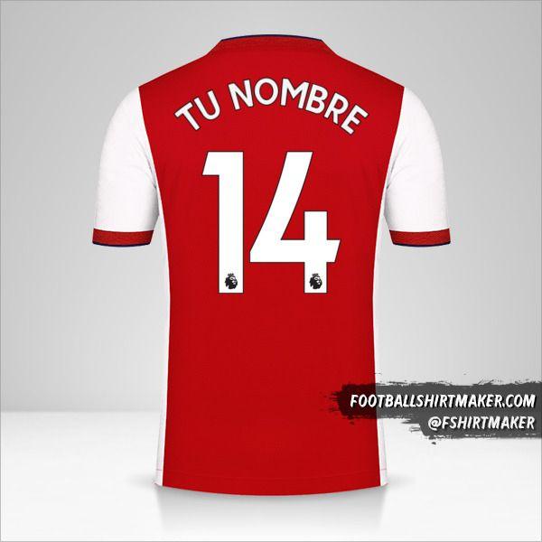 Jersey Arsenal 2021/2022 número 14 tu nombre