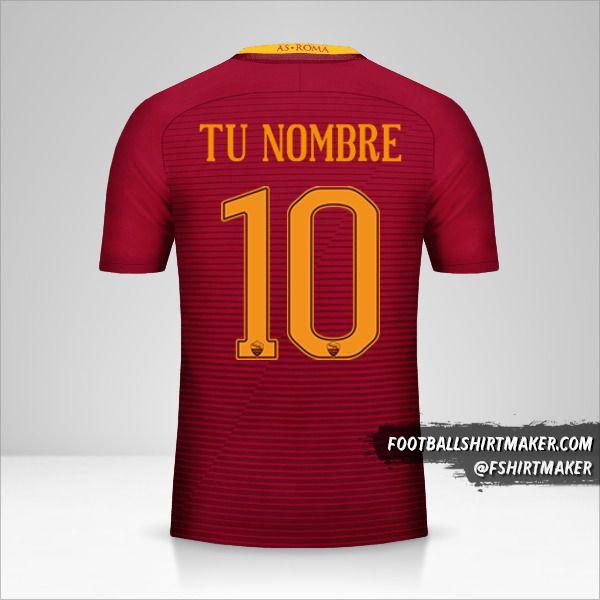 Jersey AS Roma 2016/17 número 10 tu nombre