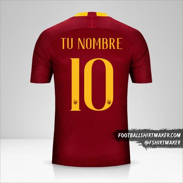 Jersey AS Roma 2018/19 número 10 tu nombre