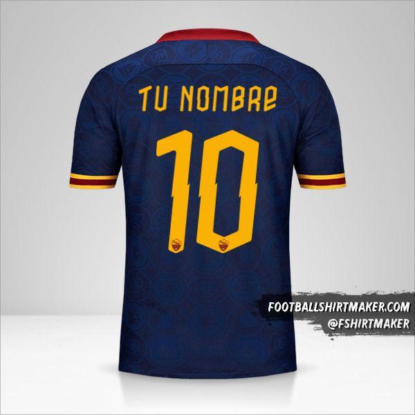 Jersey AS Roma 2019/20 Cup III número 10 tu nombre