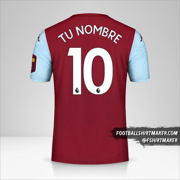 Jersey Aston Villa FC 2019/20 número 10 tu nombre