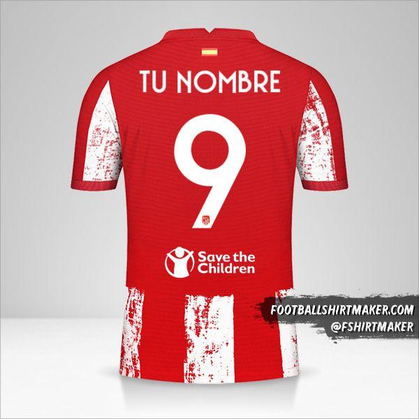Jersey Atletico Madrid 2021/2022 Cup número 9 tu nombre