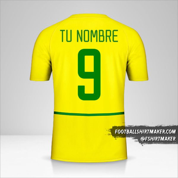 Jersey Brasil 2002/04 número 9 tu nombre