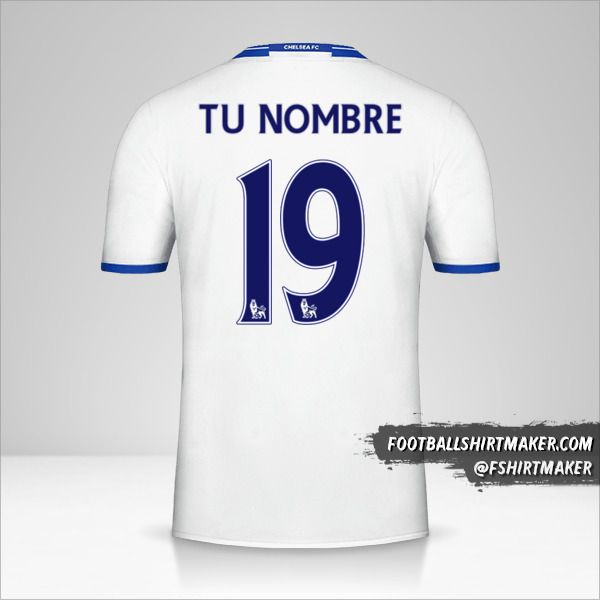 Jersey Chelsea 2016/17 III número 19 tu nombre