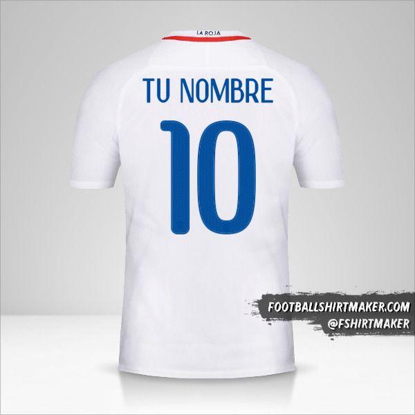 Jersey Chile 2016 II número 10 tu nombre