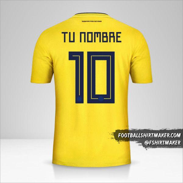 Jersey Colombia 2018 número 10 tu nombre