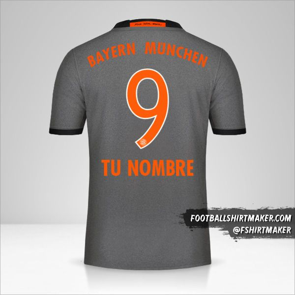 Jersey FC Bayern Munchen 2016/17 II número 9 tu nombre