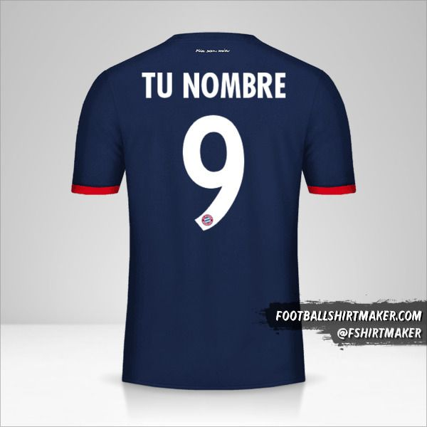 Jersey FC Bayern Munchen 2017/18 Cup II número 9 tu nombre