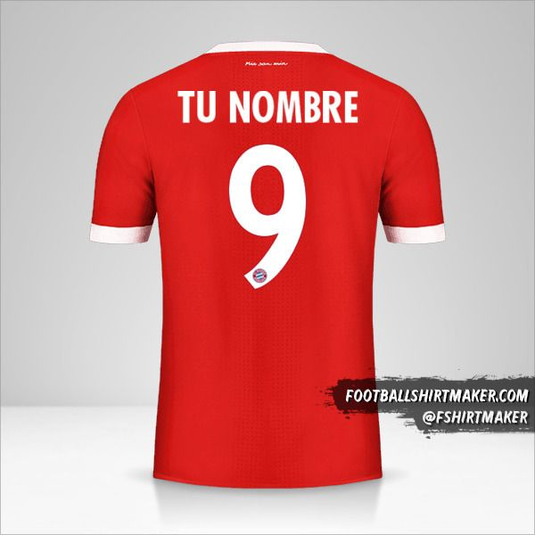 Jersey FC Bayern Munchen 2017/18 Cup número 9 tu nombre