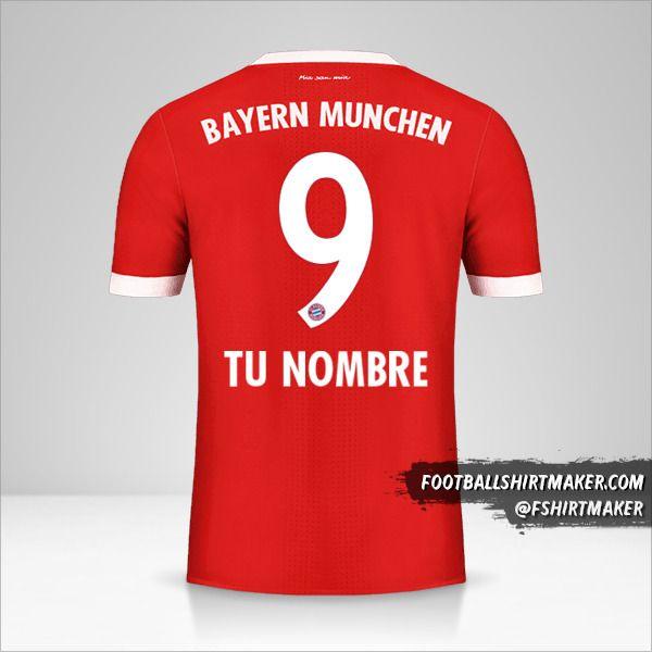 Jersey FC Bayern Munchen 2017/18 número 9 tu nombre