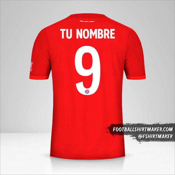 Jersey FC Bayern Munchen 2019/20 Cup número 9 tu nombre