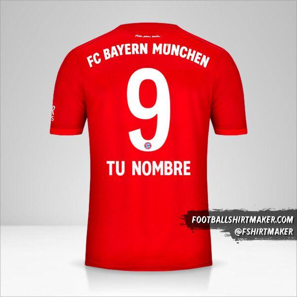 Jersey FC Bayern Munchen 2019/20 número 9 tu nombre
