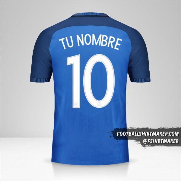 Jersey Francia 2016 número 10 tu nombre