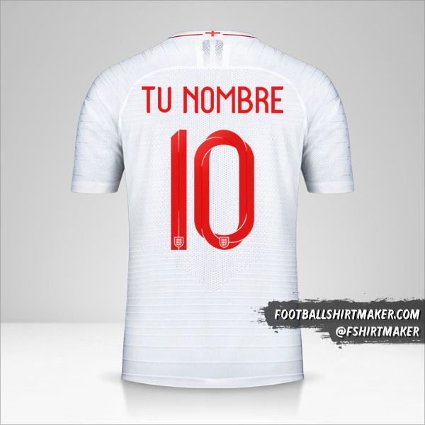 Jersey Inglaterra 2018 número 10 tu nombre