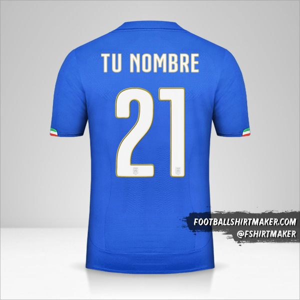 Jersey Italia 2014 número 21 tu nombre