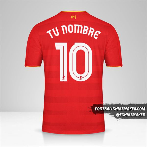 Jersey Liverpool FC 2016/17 Cup número 10 tu nombre