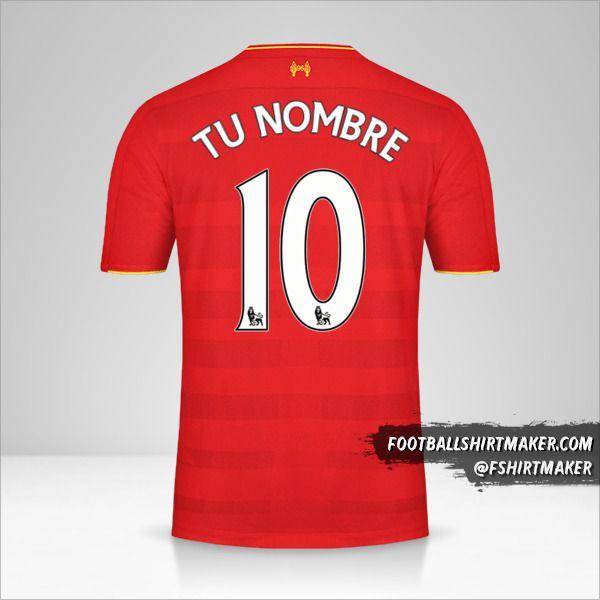 Jersey Liverpool FC 2016/17 número 10 tu nombre
