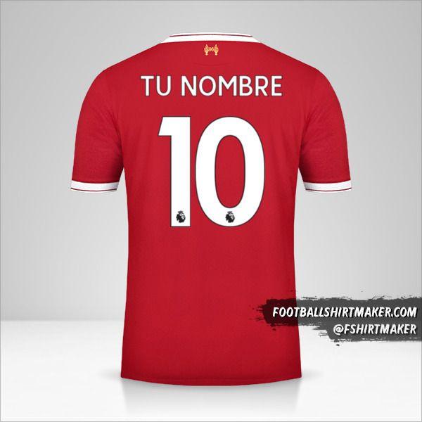 Jersey Liverpool FC 2017/18 número 10 tu nombre