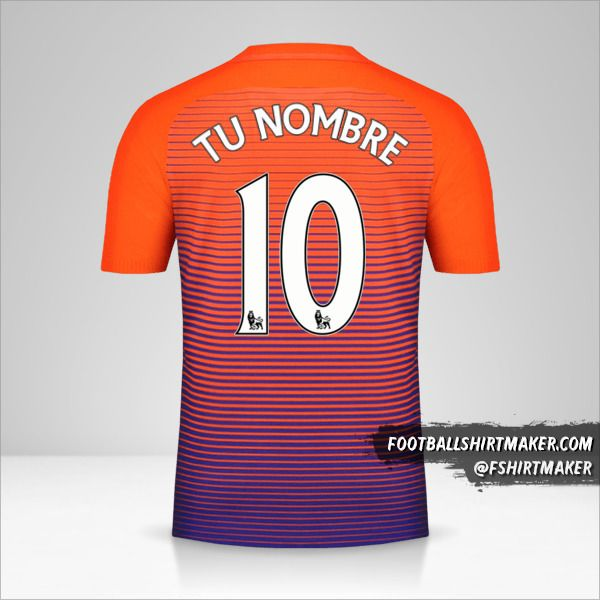 Jersey Manchester City 2016/17 III número 10 tu nombre