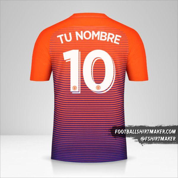 Jersey Manchester City 2016/17 Cup III número 10 tu nombre