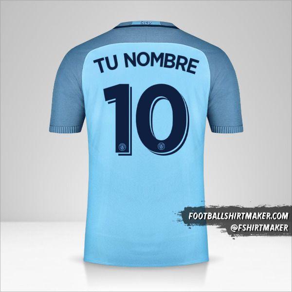 Jersey Manchester City 2016/17 Cup número 10 tu nombre