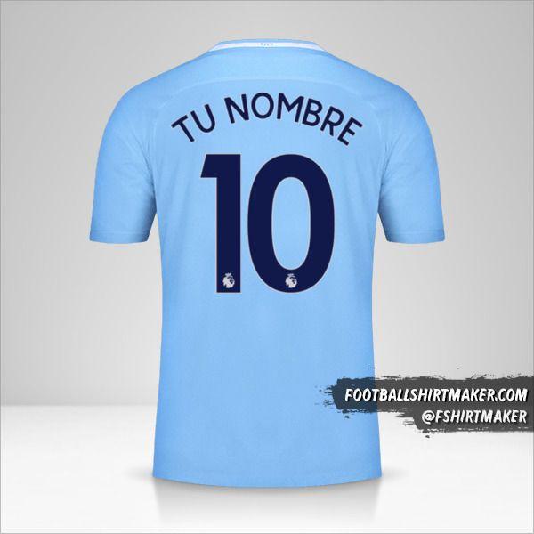 Jersey Manchester City 2017/18 número 10 tu nombre