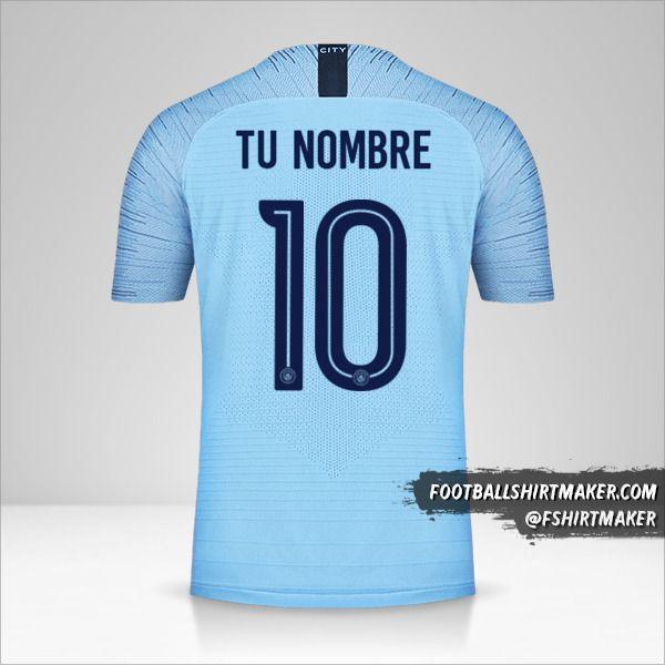 Jersey Manchester City 2018/19 Cup número 10 tu nombre