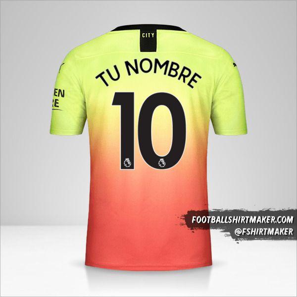 Jersey Manchester City 2019/20 III número 10 tu nombre