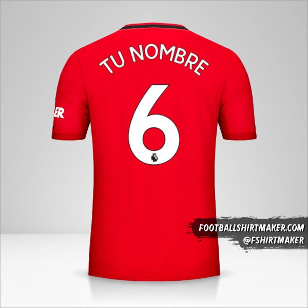 Jersey Manchester United 2019/20 número 6 tu nombre
