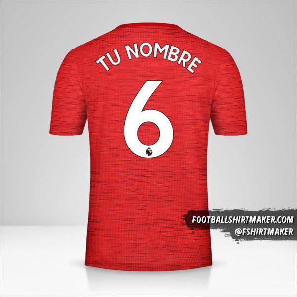 Jersey Manchester United 2020/21 número 6 tu nombre