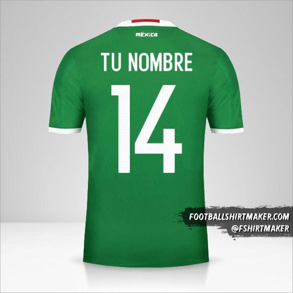 Jersey Mexico 2016 número 14 tu nombre