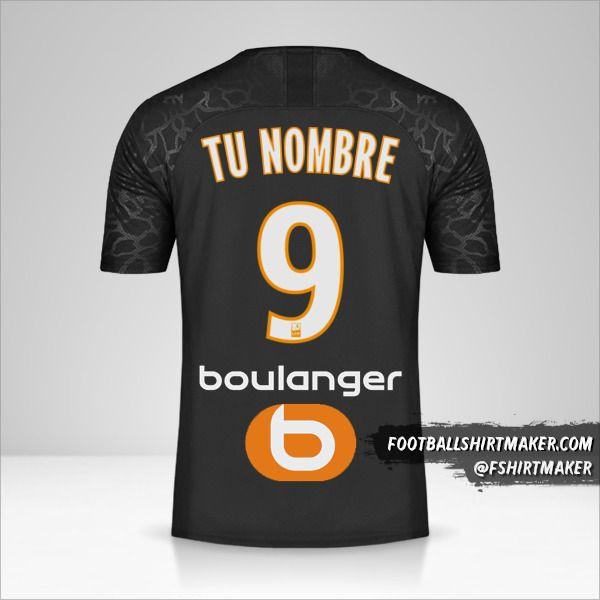 Jersey Olympique de Marseille 2019/20 III número 9 tu nombre
