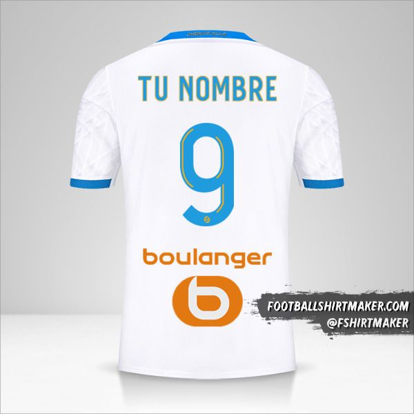Jersey Olympique de Marseille 2020/21 número 9 tu nombre