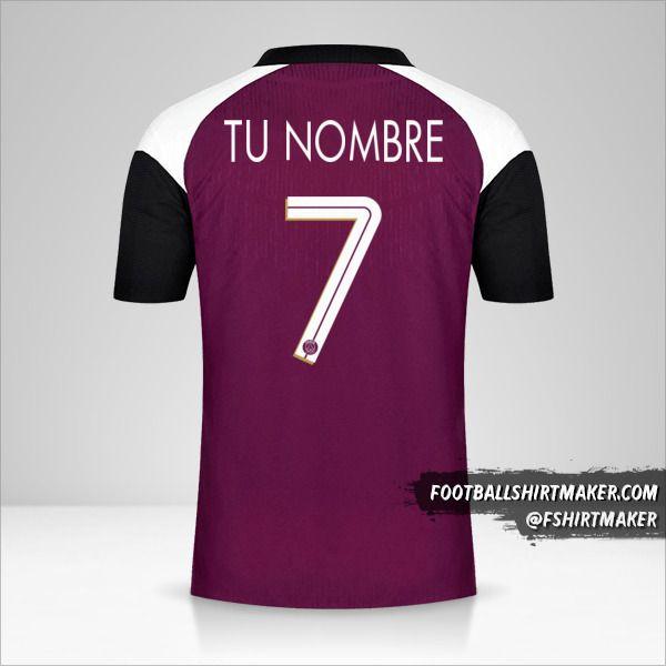 Jersey Paris Saint Germain 2020/21 Cup III número 7 tu nombre