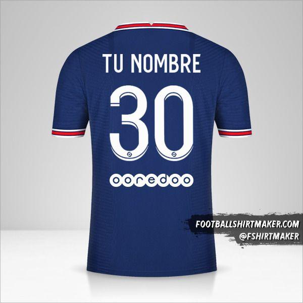 Jersey Paris Saint Germain 2021/2022 número 30 tu nombre