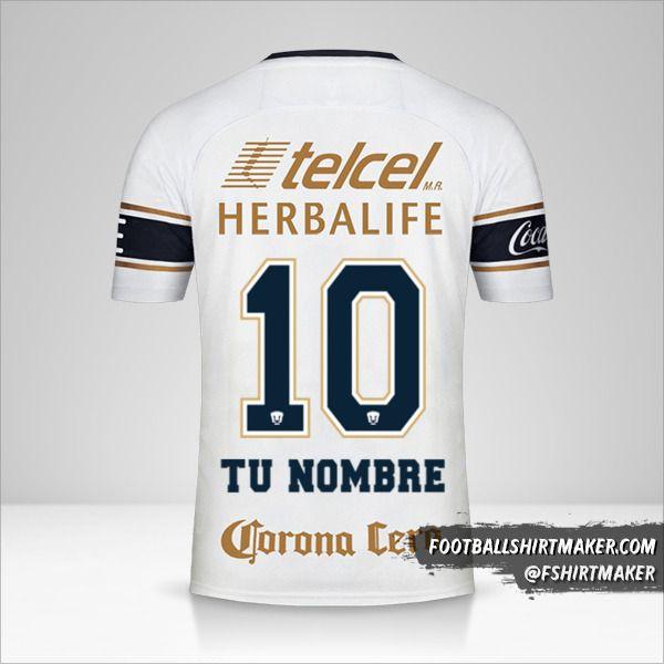 Jersey Pumas UNAM 2017/18 número 10 tu nombre