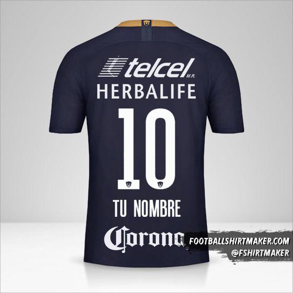 Jersey Pumas UNAM 2018/19 III número 10 tu nombre