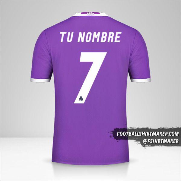 Jersey Real Madrid CF 2016/17 II número 7 tu nombre