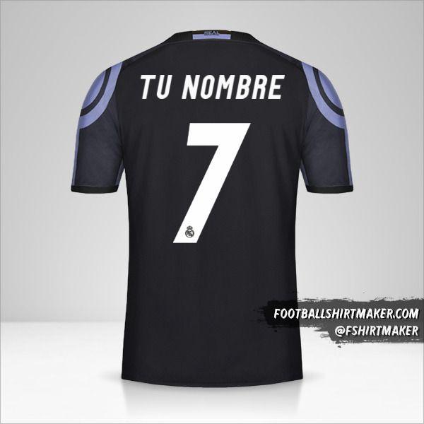 Jersey Real Madrid CF 2016/17 III número 7 tu nombre