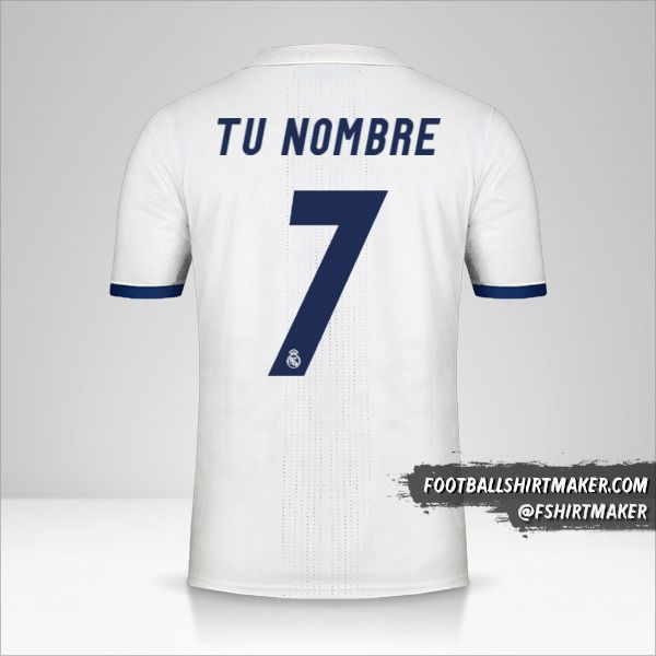 Jersey Real Madrid CF 2016/17 número 7 tu nombre