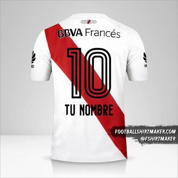 Jersey River Plate 2017/18 número 10 tu nombre