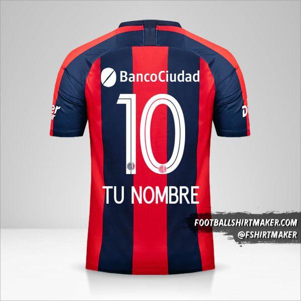 Jersey San Lorenzo 2019 número 10 tu nombre