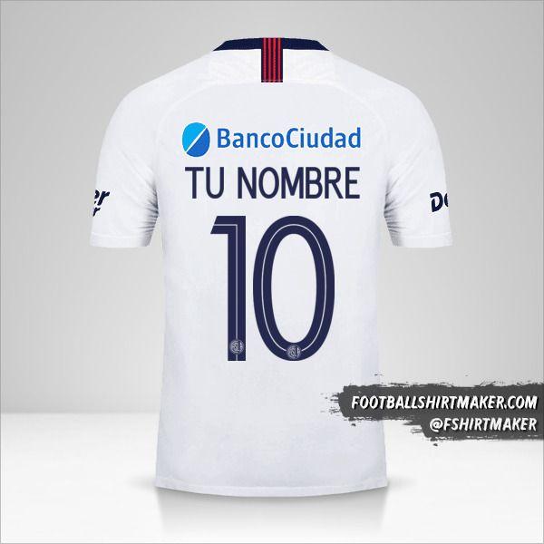 Jersey San Lorenzo Libertadores 2019 II número 10 tu nombre