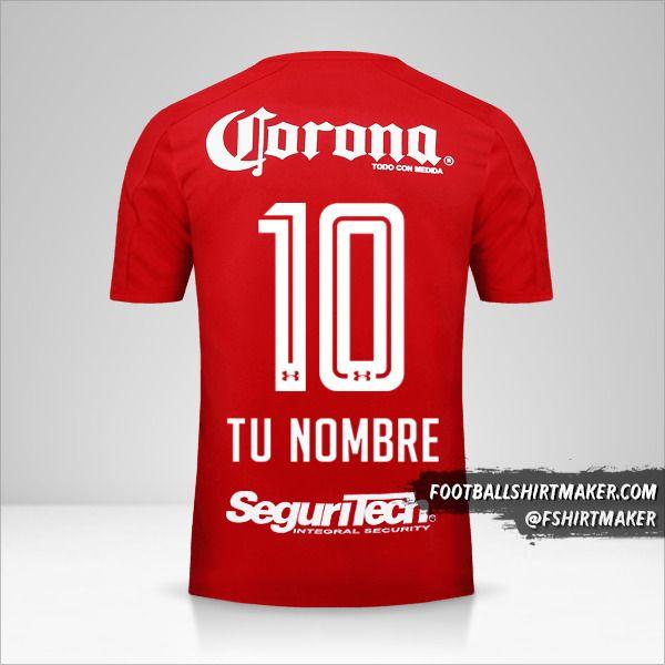 Jersey Toluca FC 2017/18 número 10 tu nombre